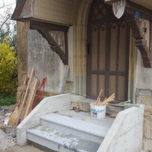 versetzen der neuen Treppenstufen