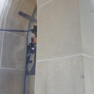 Glockenturm mit neu versetzten Werkstücken